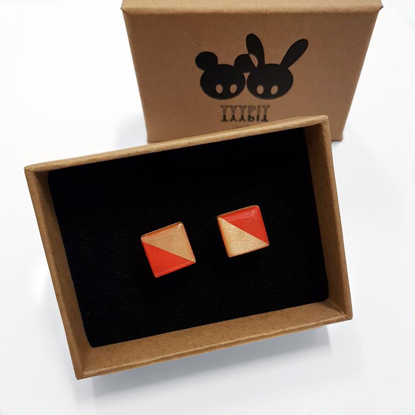 Tyypit NoWaste Half -korvikset koivuvaneria / Tyypit NoWaste plywood stud earrings